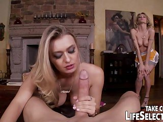 Hot blonde sisters share a big cock.