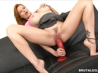 Busty red head babe riding a huge fucking brutal dildo in HD