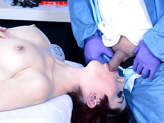Tall sexbot gives head and gets fucked in the operating room