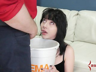 Petite Goth girl gets tied up, waterboarded with piss, and assfucked