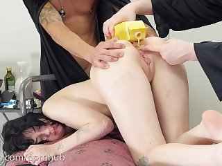 Tiny Girl Eats Eggs From Ass and Gets Brutal Anal Punishment