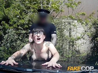 Fake Cop Copper cums over geeky girls glasses in the sun