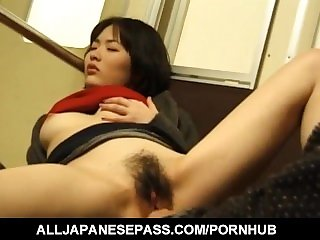 Takako has hairy crack licked and rubbed