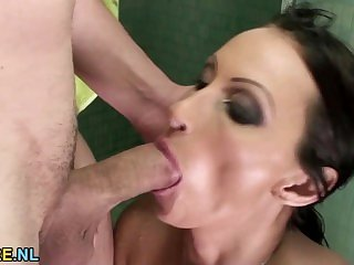 Bathroom anal with a MILF