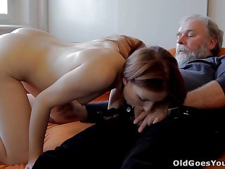 Young ukrainian redhead girl likes sex with older men when her boy away