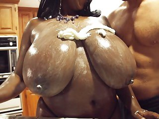Maserati's Huge Natural Black Tits Covered in Cream