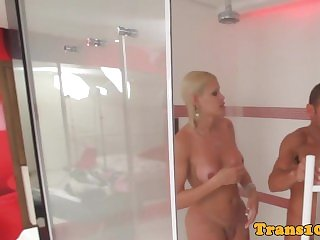 Blond latina tranny beauty behind the scenes
