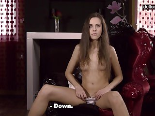 Defloration casting - cute Anastasia shows virgin pussy
