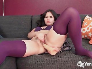 Stockinged Hermine Toys Her Pussy
