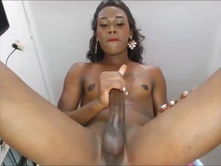 Black She Male Spits on Her Cock and Masturbates