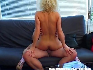Sexy Blonde Wife Fucks Husband On The Couch