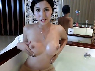 Hot chinese slut in bath washing hairy pussy & asshole - more CAMSBARN.COM