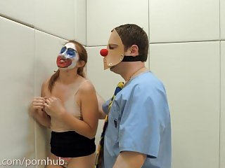 Rough anal humiliation and ATM in bondage for clown girl named Rose Red