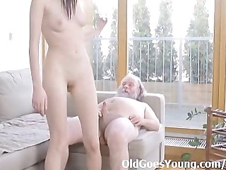 Alina gets her first taste of a mature dude that loves to fuck young pussy