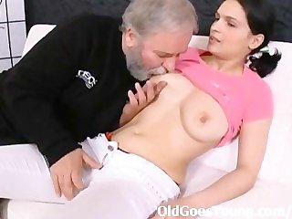 Young Diana love spreading her legs and letting this old guy fuck her