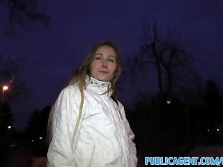 PublicAgent Amateur blonde fucks her first big cock