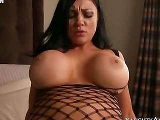 Audrey Bitoni in a fishnets fucks Bill in the bedroom