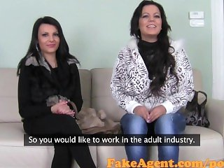 FakeAgent Two Busty brunette amateurs love playing with big cock in Office