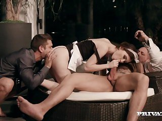 Misha Cross - Deepthroat with two guys
