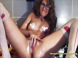 Erotic masturbation on the kitchen table